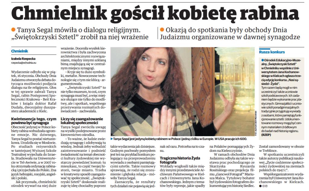 Echo Dnia: Chmielnik gościł kobietę Rabina - Rabin Tanya Segal na obchodach dnia Judaizmu w Chmielniku 16.01.2015
